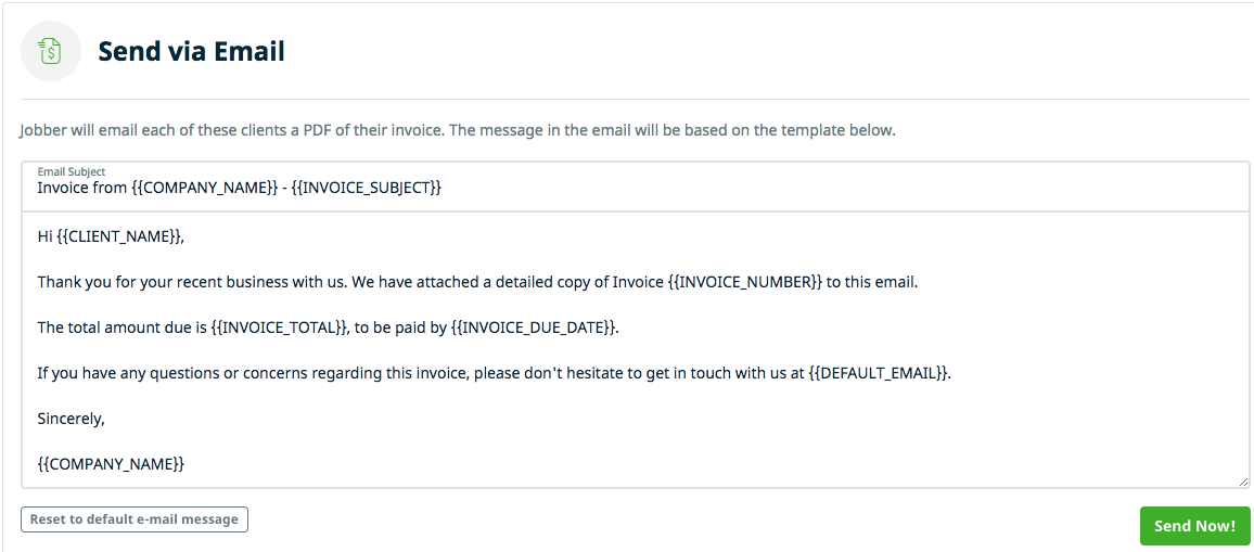 Invoice Template Message Operlyinginfo - Jobber invoicing