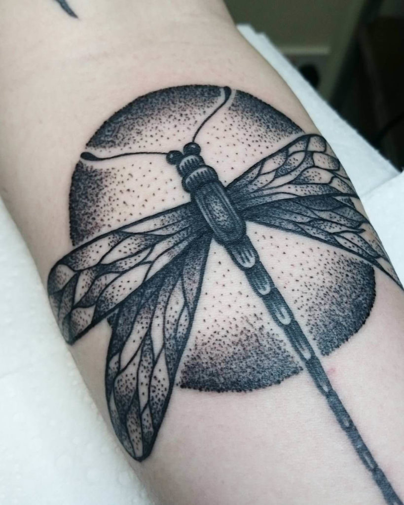 dotwork dragonfly tattoo