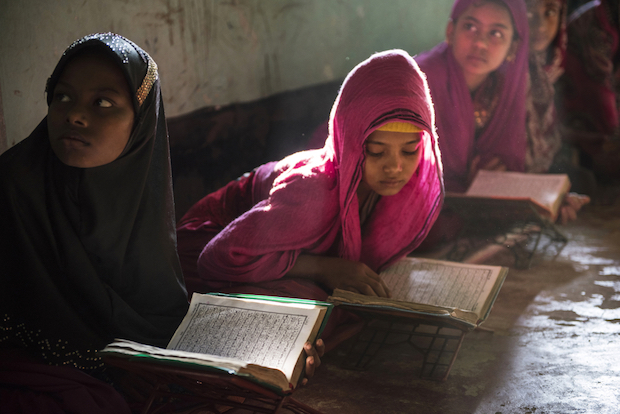 Rohingya girls study the Koran