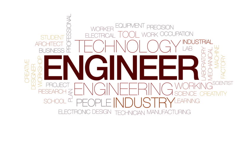 Engineer Animated Word Cloud, Text Stock Footage Video (100 ...