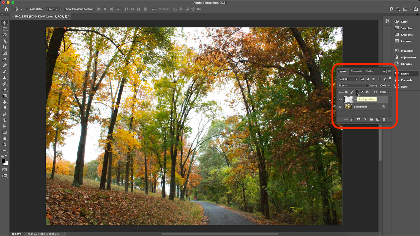 Screenshot of layer locked in position in Photoshop.
