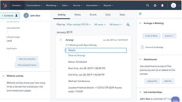 Arrangr scheduling app as part of the HubSpot ecosystem