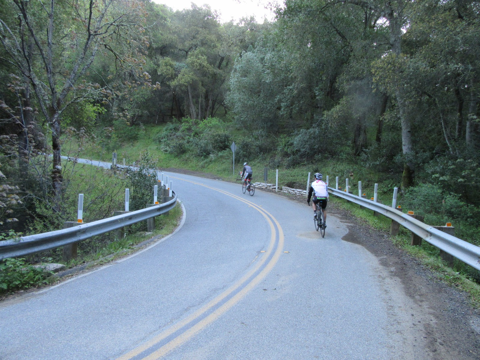 Cyclists on Hicks Road on way to Mt Umunhum by northern route