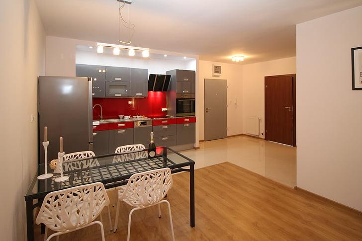 Red Modular Kitchen Cabinets