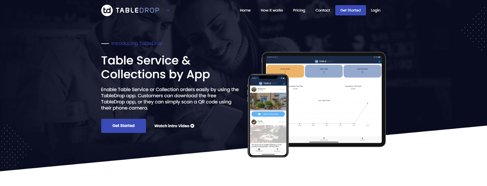 TableDrop App homepage screenshot with mobile and tablet screen photos