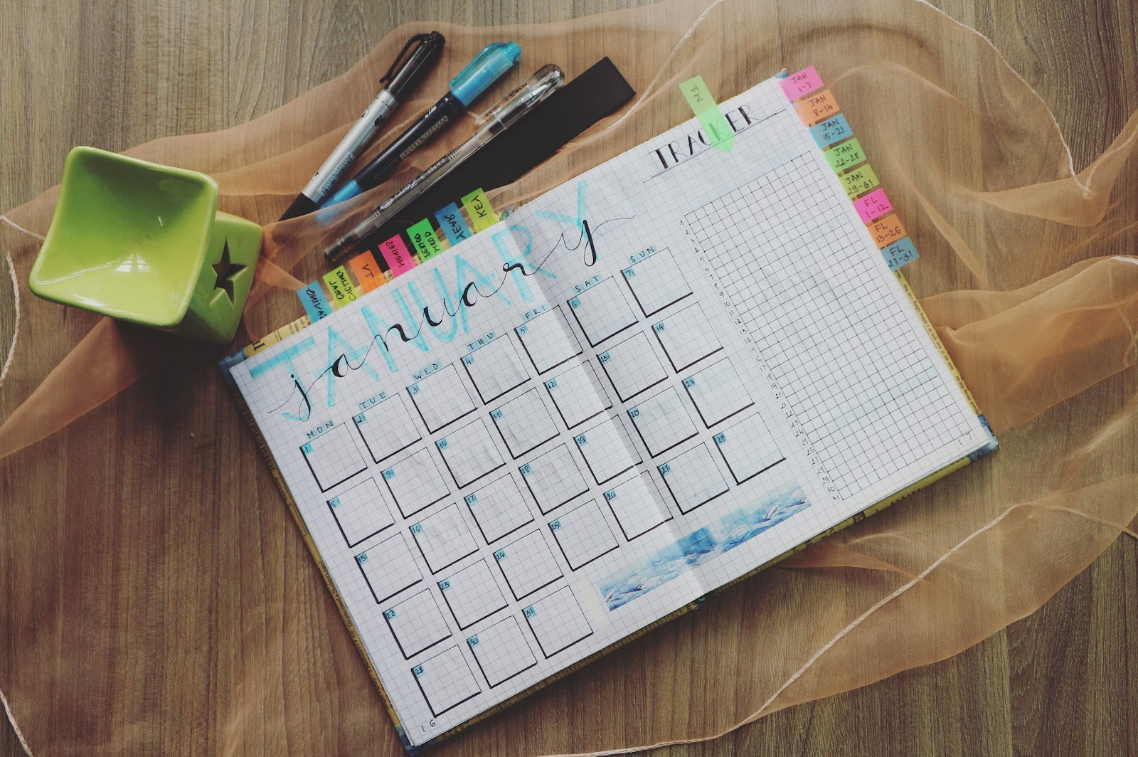 Revision timetable and pens