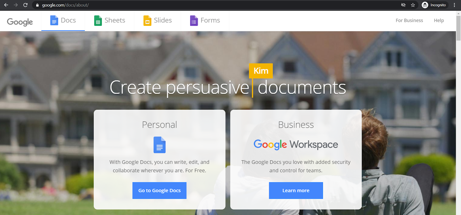 google docs homepage