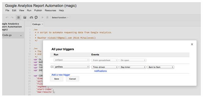 Bộ hẹn giờ tự động hóa báo cáo Google Analytics