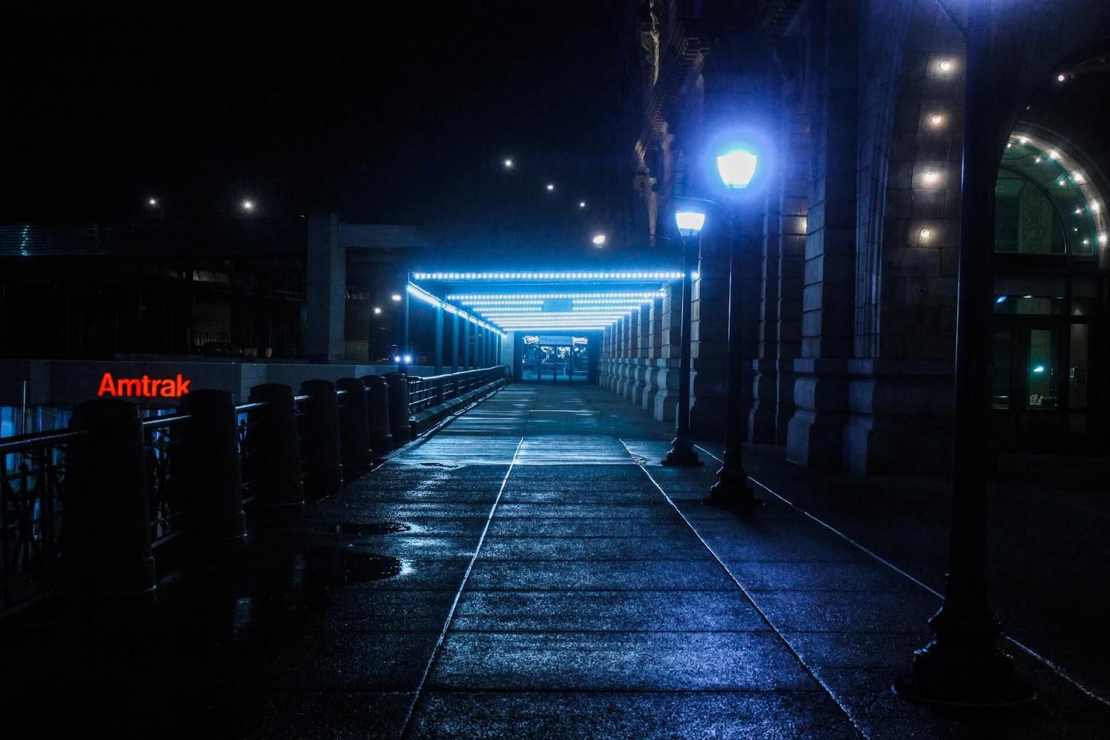 A bridge of neon at night