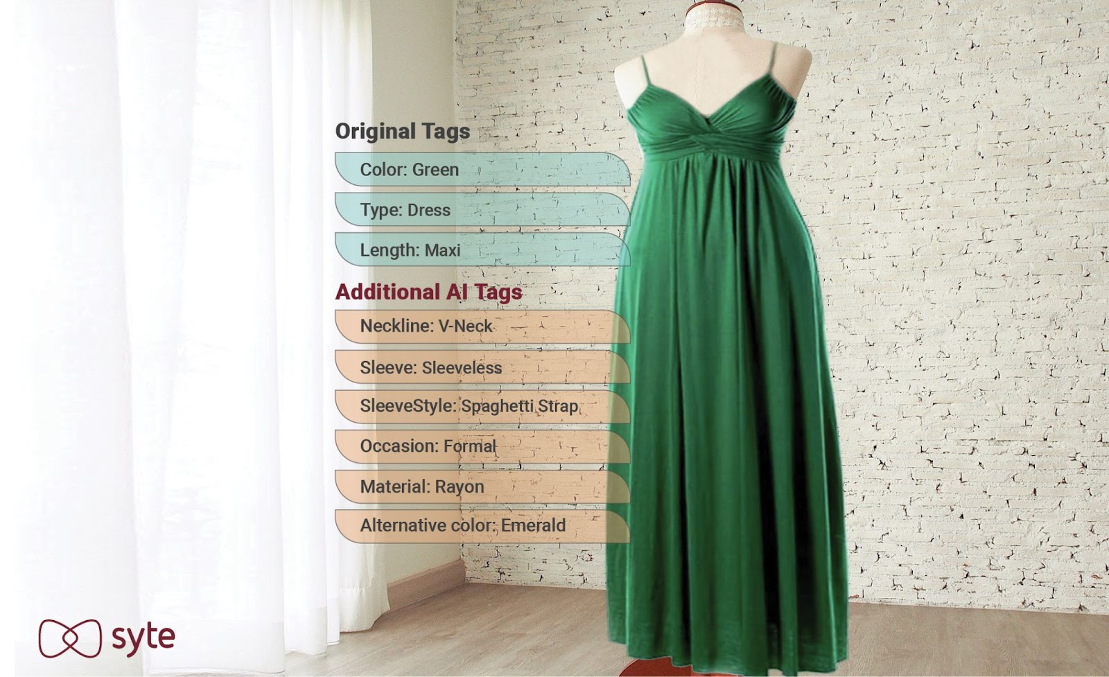Discovery design technology: AI-powered product tags describe a green maxi dress