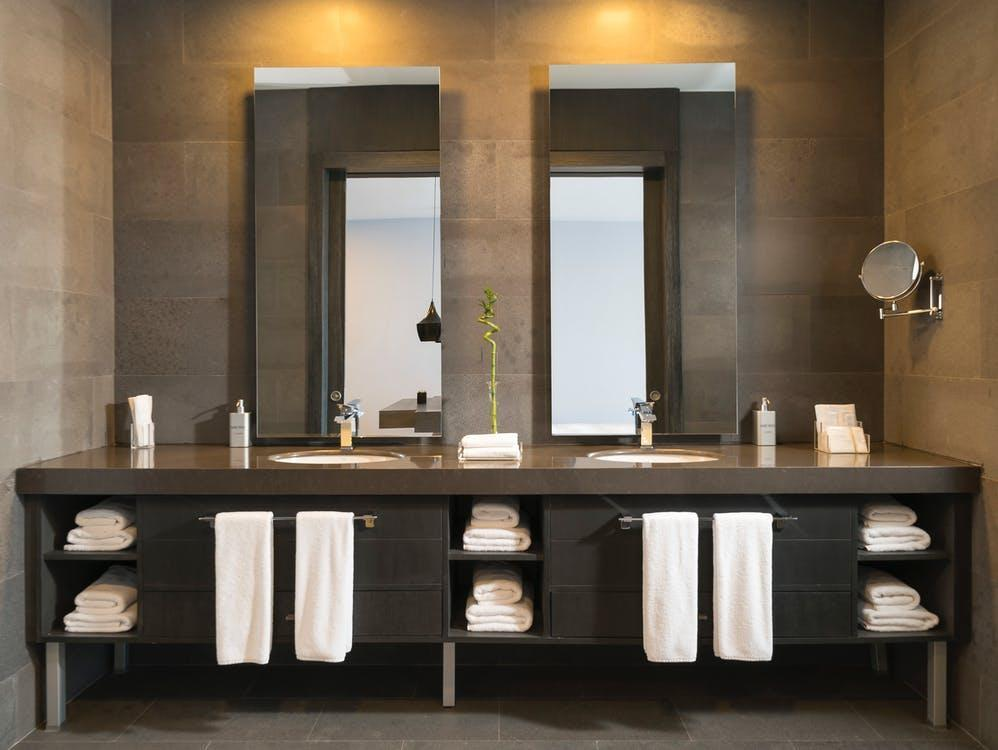architectuur, badhanddoeken, badkamer