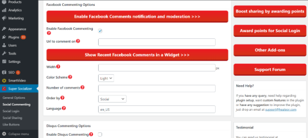 Image of how to enable Facebook and Disqus commenting in Super Socializer plugin