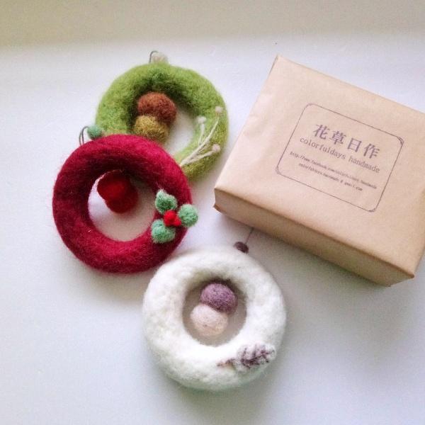 聖誕花圈diy-羊毛氈聖誕花圈