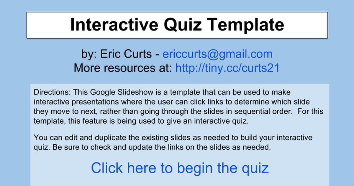 Interactive Quiz Template - Curts - Google Slides