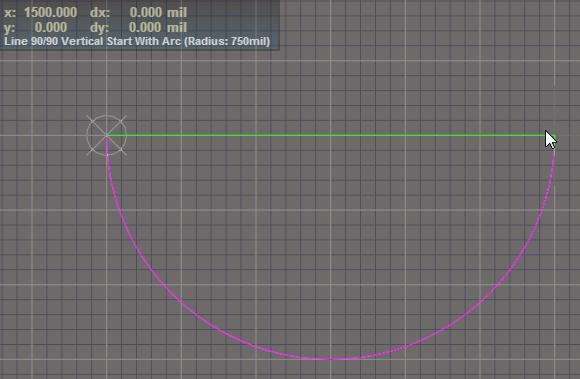 Zeichnung des nächsten Bogens zur Erstellung einer komplexen 3D-Form mit Altium Designer.