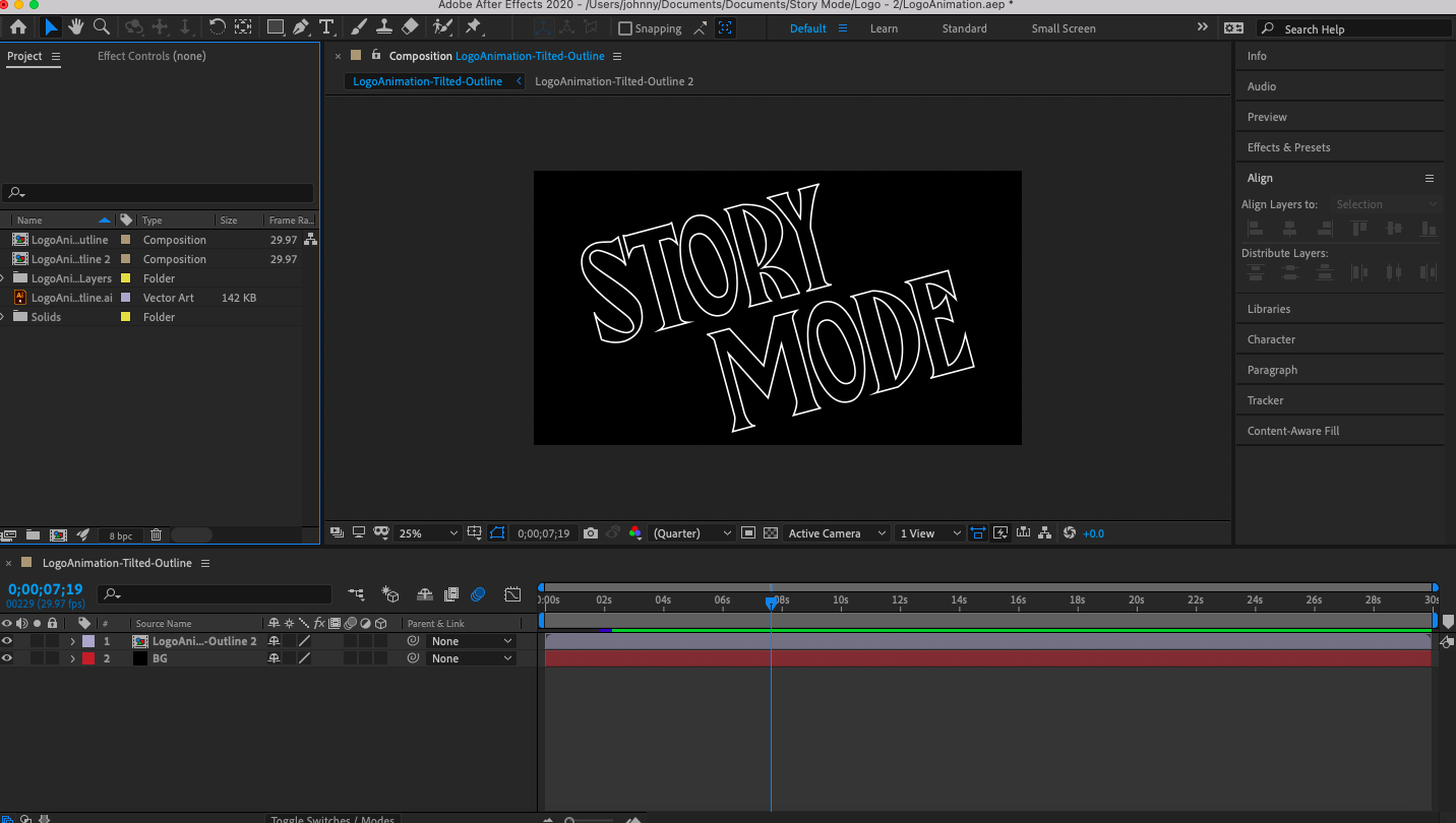 Screenshot of the After Effects interface with a composition created