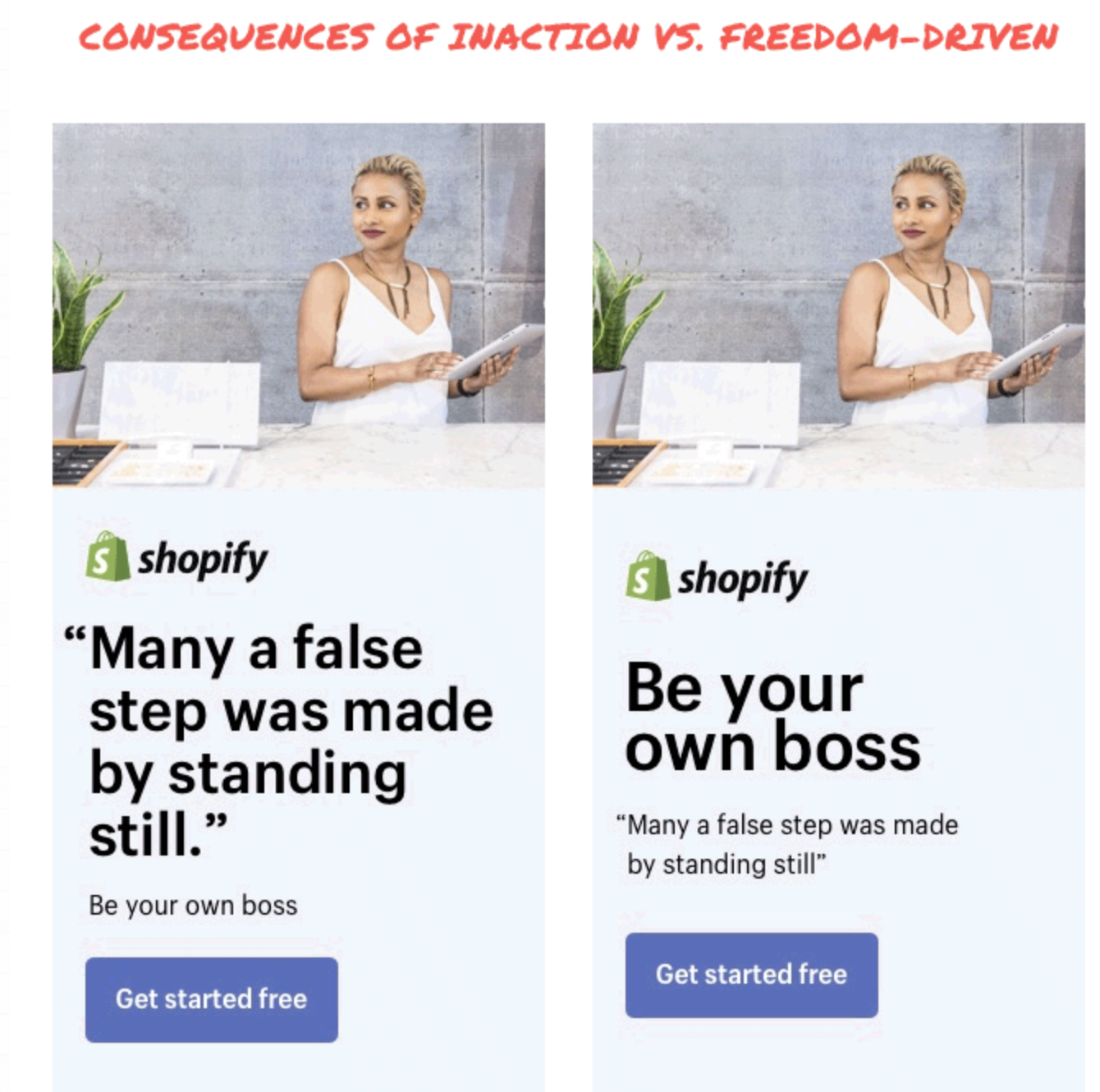 great copywriting example of a simple A/B Test
