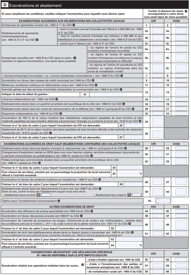 Déclaration CFE : Cadre D - Exonérations et abattement