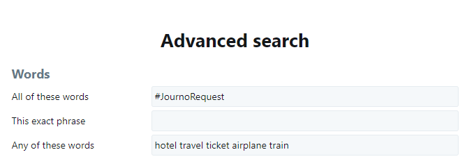Twitter Advanced Search display searching for #JournoRequest