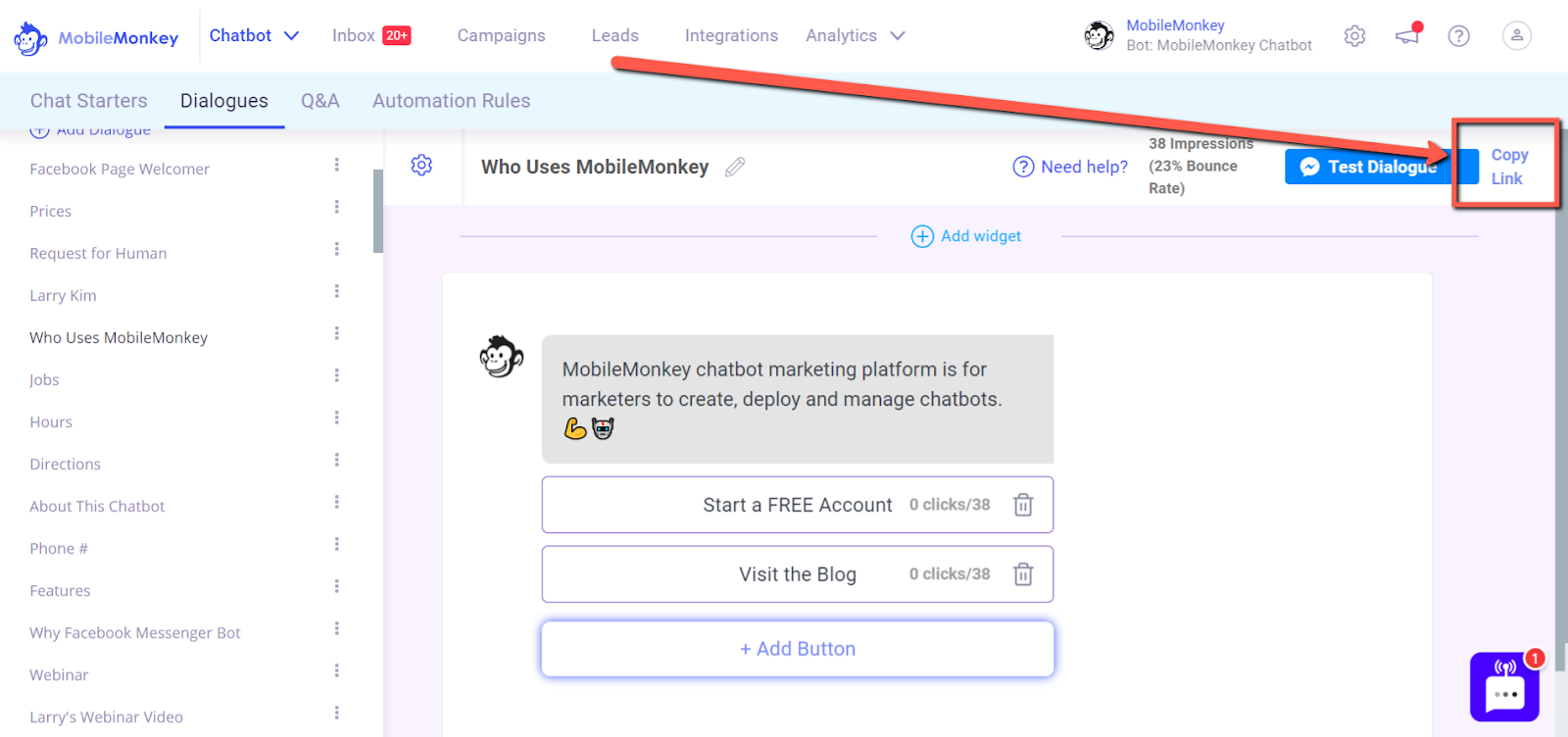 link ads to Messenger: how to get a shareable Messenger link
