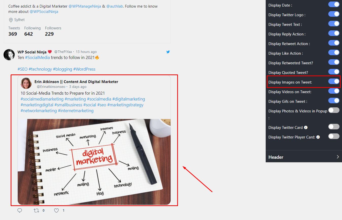 Twitter settings display images on tweet