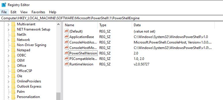 Get-ItemProperty can be used to reference the PowerShellVersion value in this registry key.