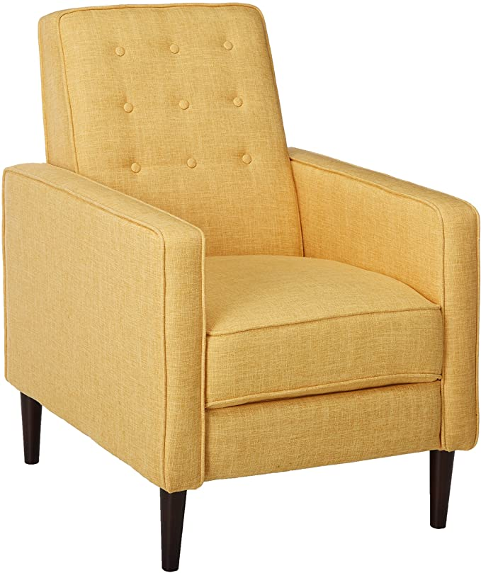 Mason Mid-Century Modern Tuft Back Recliner (Qty of 1, Fabric/Muted Yellow)