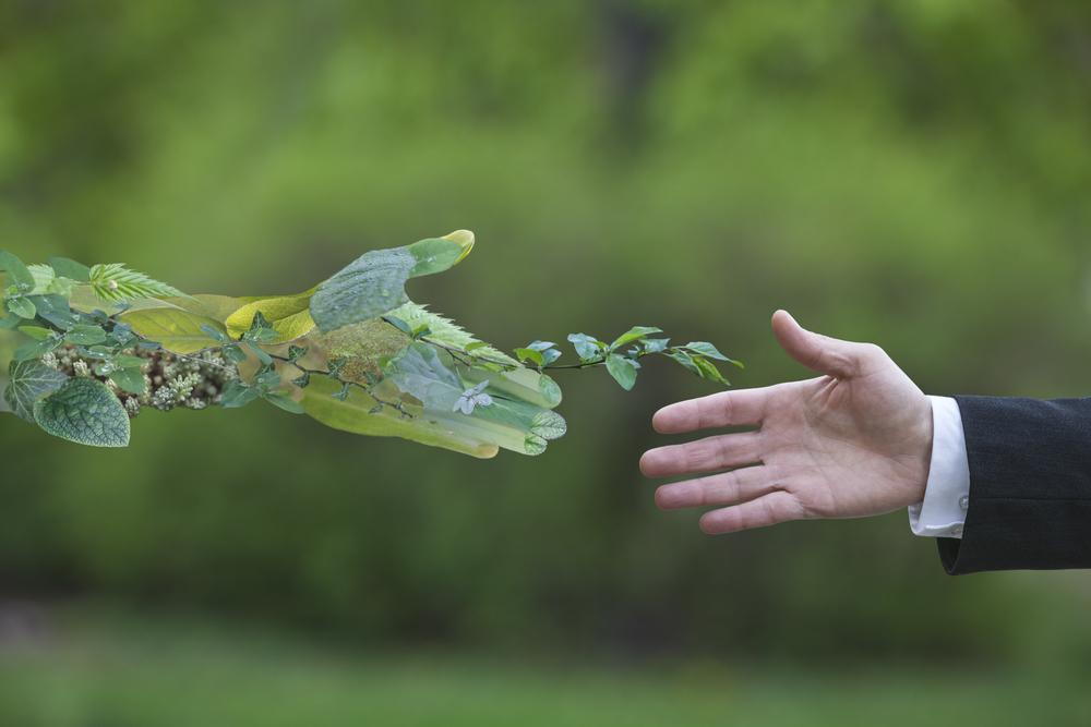 Uma mão artificial simbolizando o meio ambiente cumprimentando uma mão humana.