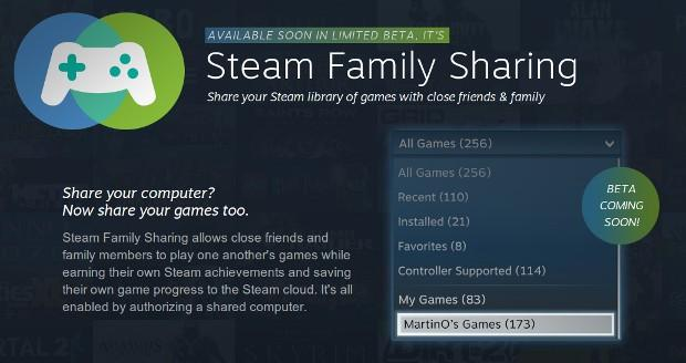 "Steam announces Family Sharing beta, to share your digital downloads with ""Close Friends & Family"""