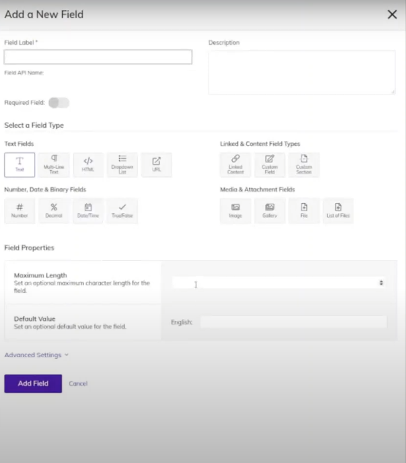 New field content modelling with Agility CMS