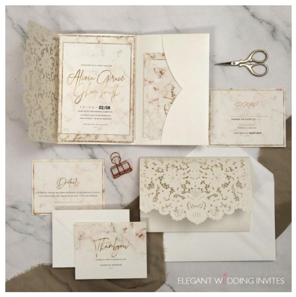 marbled modern wedding invitation