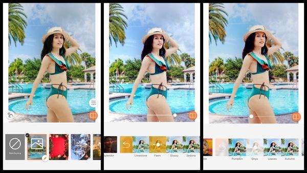 Montagem de uma mulher posando na piscina mostrando as ferramentas do AirBrush
