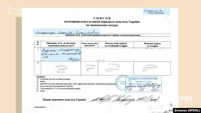 Зрештою Микола Стефанчук подав відразу до апарату парламенту список своїх помічників, де було прізвище його дружини