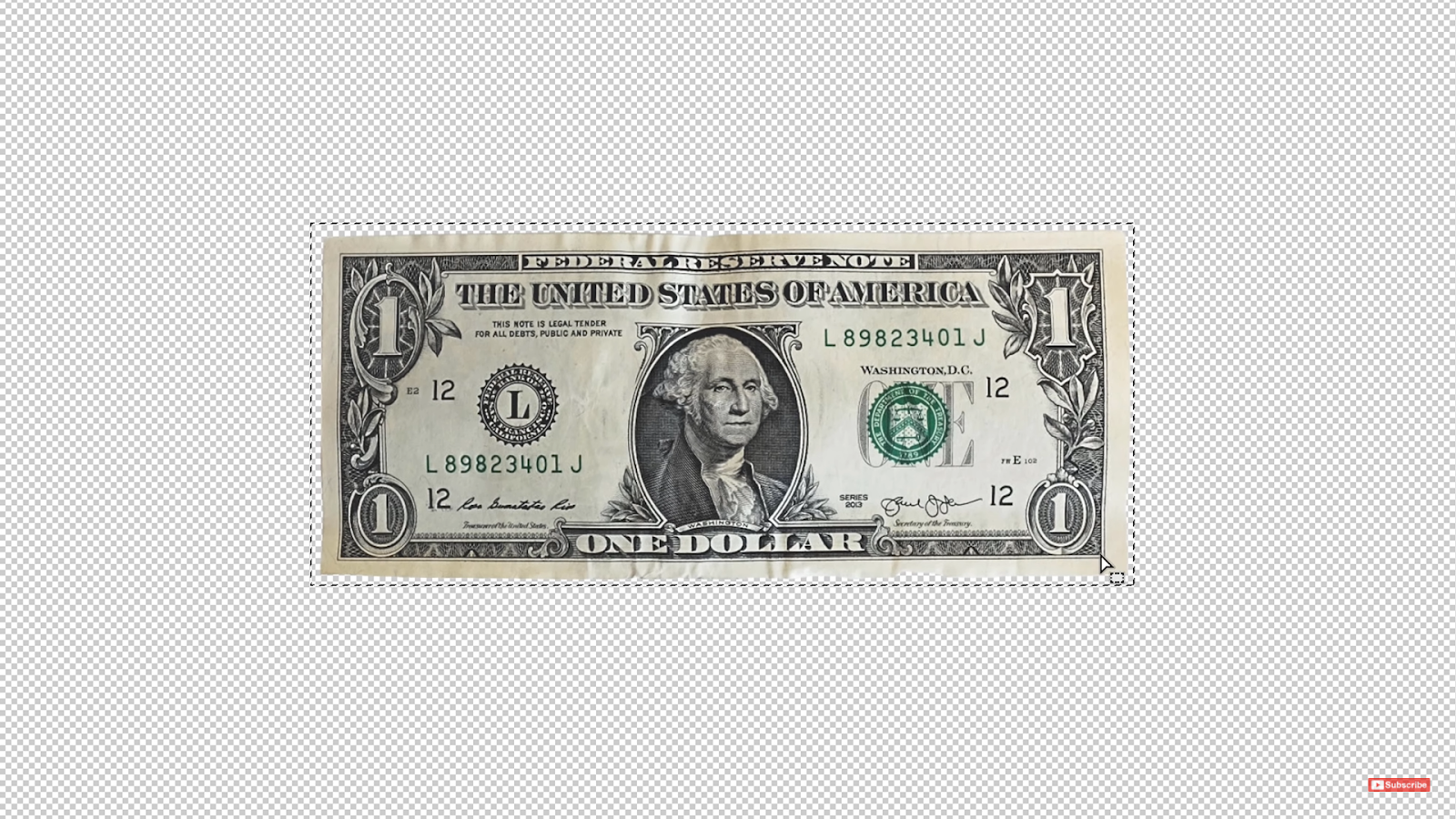 Use the Rectangular Marquee tool to create a selection around the Dollar bill