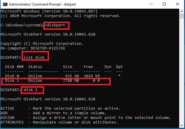Command Prompt diskpart to partition usb drive