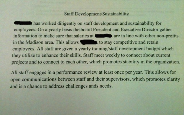 Paragraph from a nonprofit's grant