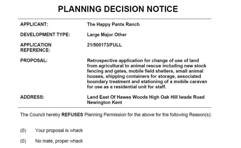 The notice from Swale Borough Council regarding Happy Pants