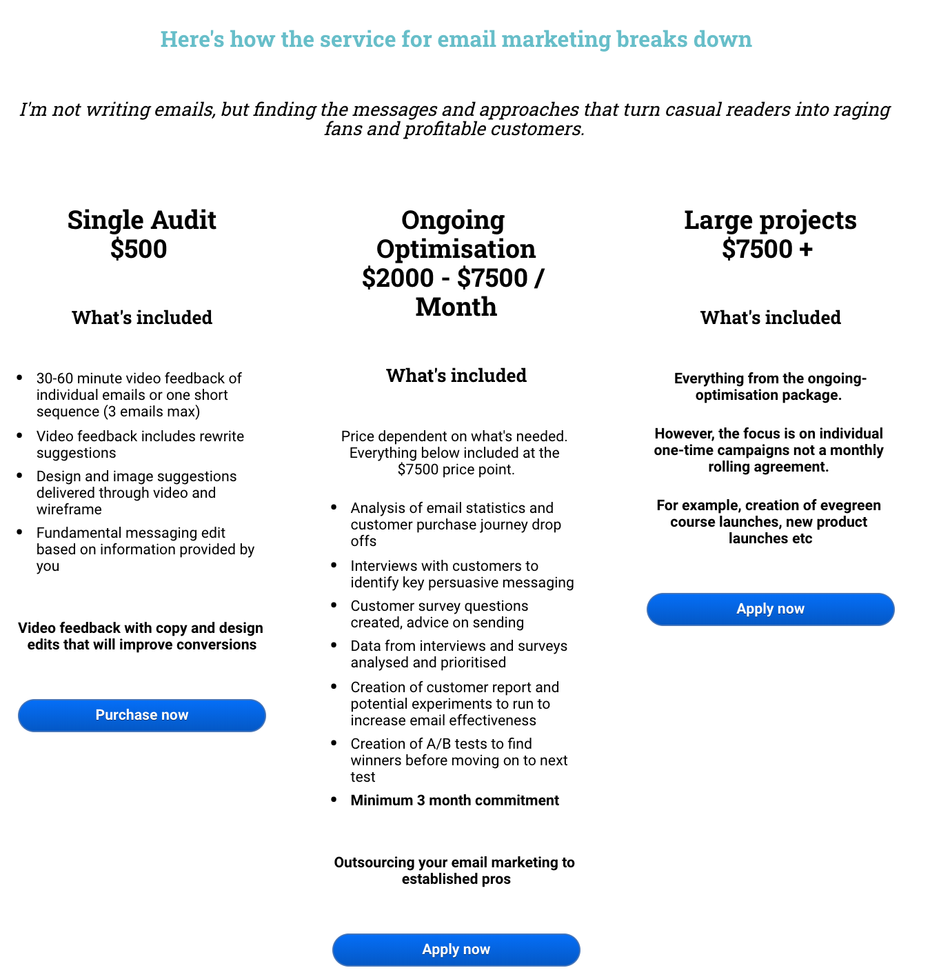 Pricing tiers for freelancers