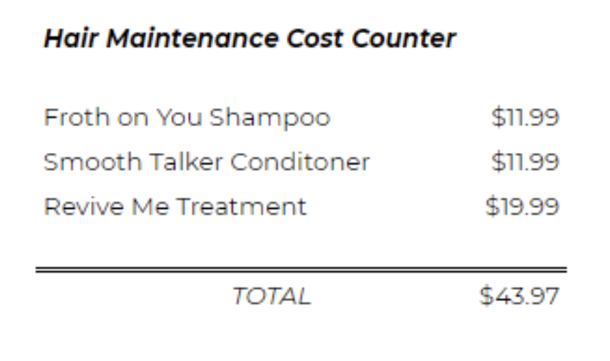 hair maintenance costs counter-2