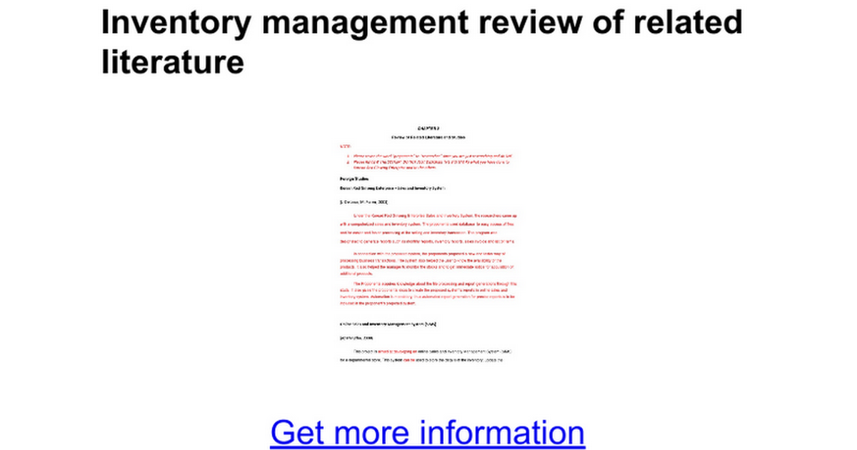 review of related local literature inventory management