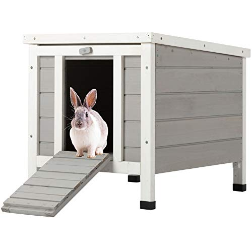 CO-Z Topnotch Weatherproof Outdoor Wooden Bunny Rabbit Hutch Pet Cage Cat Shelter in White