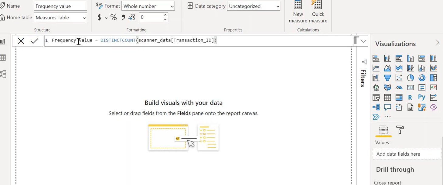 RFM analysis with Power BI: Frequency value
