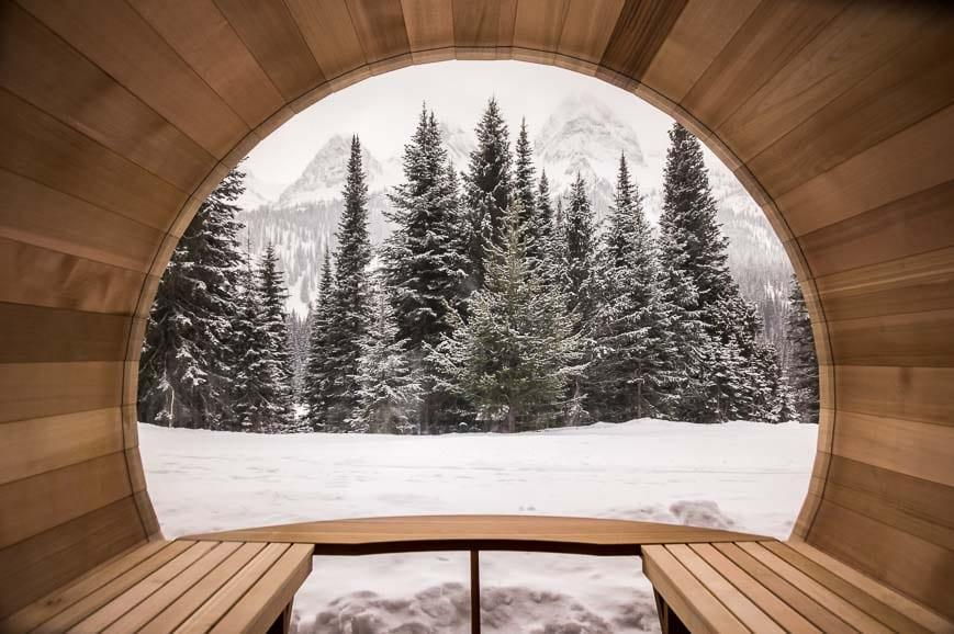 There are several barrel saunas at Island Lake Lodge to soothe tired muscles