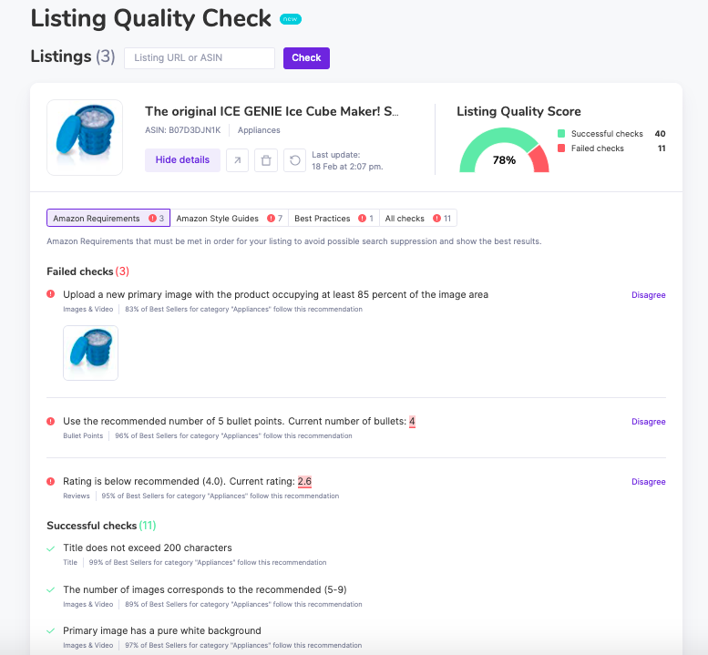 Listing Quality Check results