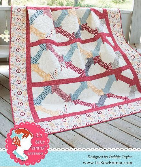 Homey Quilt with Arrow Squares and Beautiful Binding