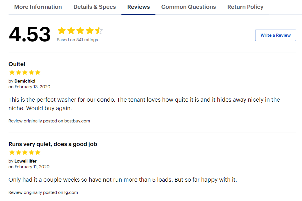 Customer reviews on product page for washing machine.