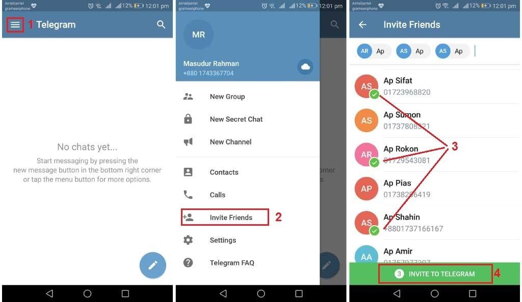 steps to invite friends to use telegram