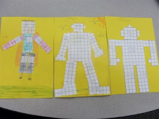 Students draw robots to learn about area and perimeter measurements.