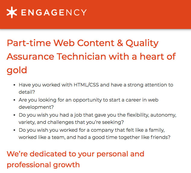 example of engagency website using Jobs schema