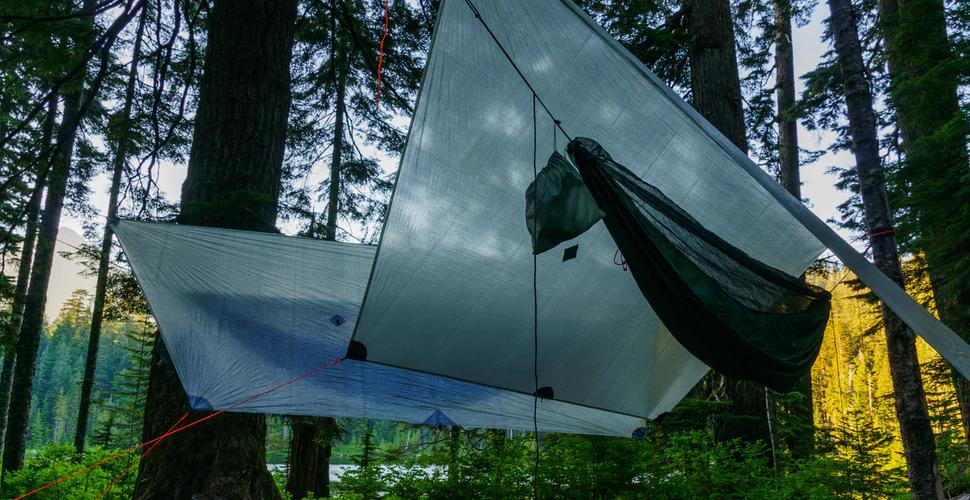 hammock under tarp shelter